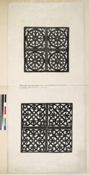 Ahmadabad: Perforated brass panels from screen around tomb of S.A.K.G. Baksh